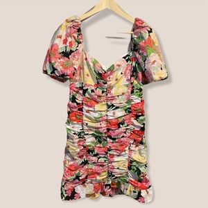 Zara Floral Ruched Puff-Sleeve Dress